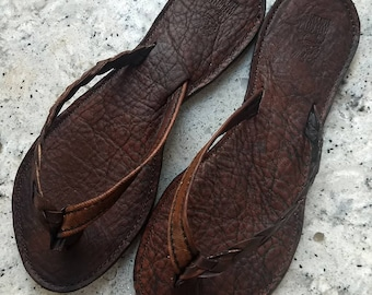 Custom Leather Women's Sandals with half braided strap Flip Flops Thongs