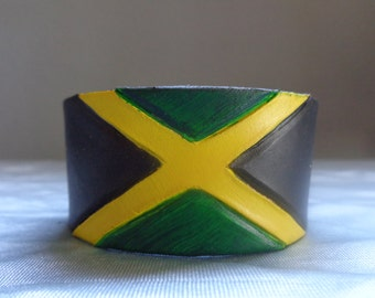 Leather Cuff by Artrix Leather and Fine art -Jamaican Flag