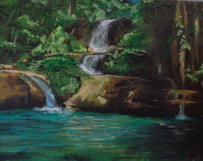 Acrylic Painting by Mike Armstrong-Jamaican Waterfall