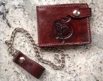 Leather Biker Wallet Chain wallet- Billfold