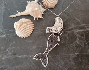 """Necklace """"Little Mermaid"""", pendant mermaid, silver 925 with fish leather, mermaid necklace, handmade, necklace silver 925 40/45 or 45/50 cm"""