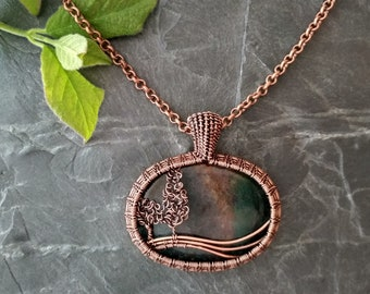 Necklace with landscape pendant # wirewrapped copper trees # Moss Agate # up to 60 cm (23 1/2 in) # handmade pendant 4.5 cm (1 3/4 in)