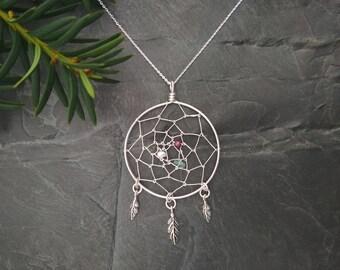 Dreamcatcher Necklace # Sterling silver, Garnet, Fluorite, Pearl # max 50 cm / 20 in # pendant 5.6 cm (2 1/4 in) # wirework, handmade # gift
