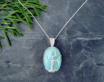 Delicate necklace turquoise tree of life . .