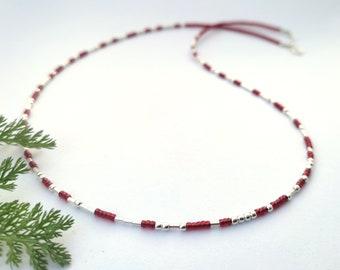 Personalisierbare Silber Morse-Code Halskette    geheime Botschaft Morse    Text nach Wahl    rot    Länge bis 55 cm    Sterlingsilber 925