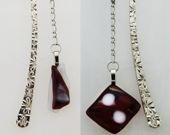 Tibetan Bookmark Red and White, 2 models, Patinated and Varnished, Pendant Fusing Glass