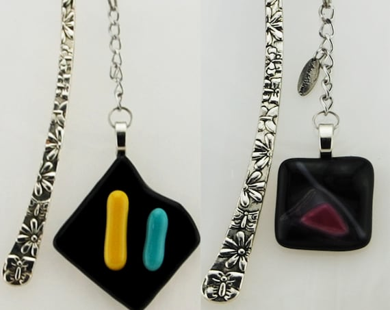Tibetan Bookmark Blacks, 2 models, Black Patinated and Varnished, Pendant Fusing Glass