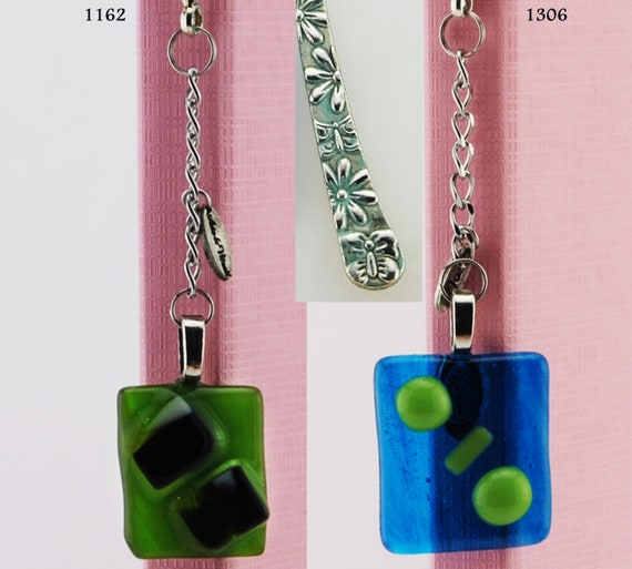 Tibetan Bookmark Green and Blue, 2 models, Patinated Color and Varnished, Pendant Fusing Glass