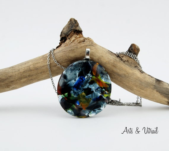 Necklace with a colorful multicolored glass flakes pendant and a stainless steel chain