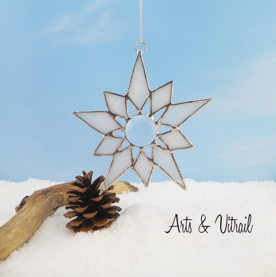 Stained Glass Snowflake, Beautiful Decoration to add to your Christmas Collection or to give as a gift