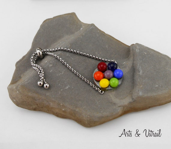 Bracelet 7 Chakras round, a Glass Cabochon for each Chakra, bracelet ajustable Stainless Steel Chain, Spiritual Jewel
