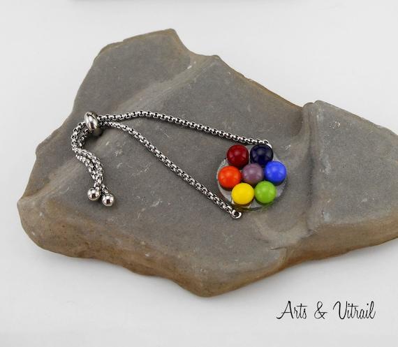 Bracelet 7 Chakras round, a Glass Cabochon for each Chakra, bracelet ajustable Stainless Steel Chain, Spiritual Jewel