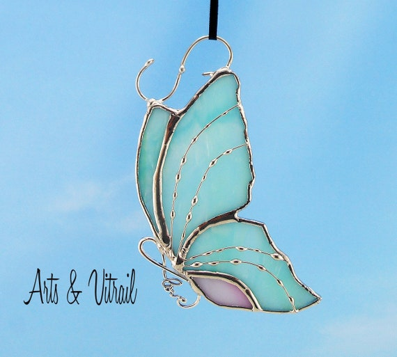 Stained Glass Butterfly Aqua and Pink Suncatcher Carrying an Infinity Message-Body INFINITY Love, Hope, BestFriends or Live Love Laugh