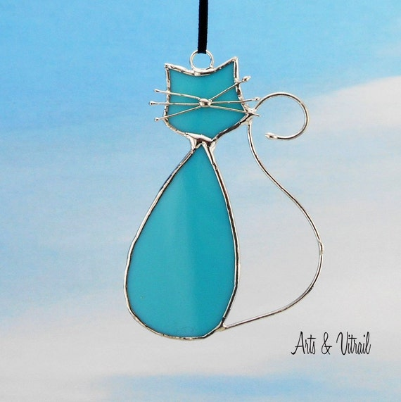 Stained Glass Cat Suncatcher MONSIEUR - Opalescent Turquoise Glass - Stained Glass Hanging - Cat Glass - Cat Family - Beautiful Cat