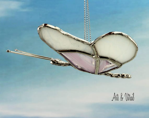 Butterfly 3D Stained glass - Butterfly in Flight, Wings are Pink and White, Handmade Lead Body