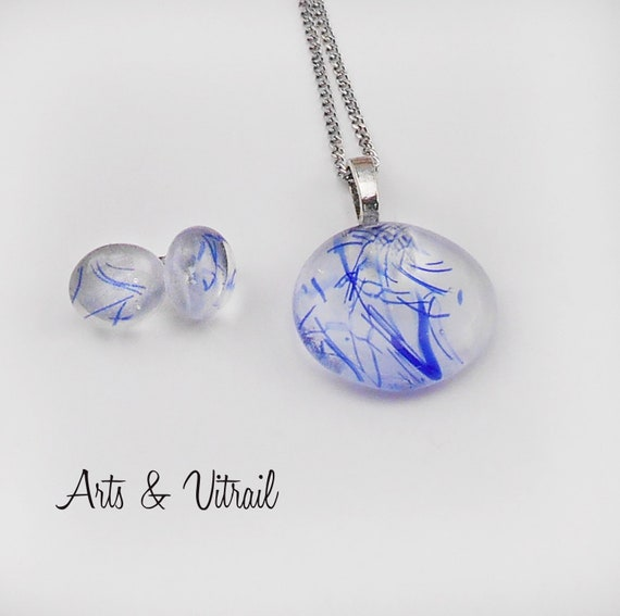 Necklace, Clear  and Blue Glass Pendant, with Stud Earrings, Chain and Studs are stainless steel