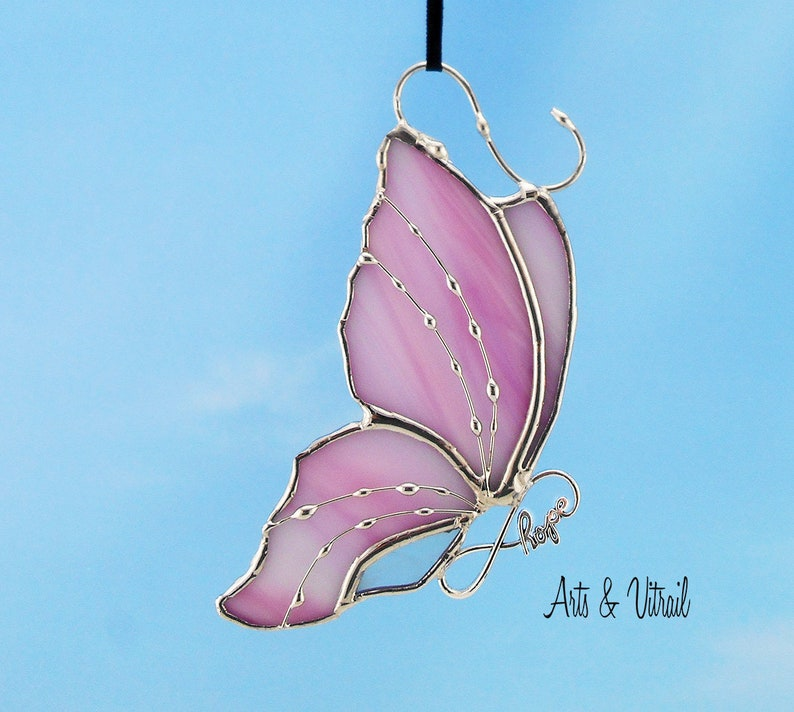 BestFriends or Live Love Laugh Stained Glass Butterfly Suncatcher Carrying an Infinity Message-Body INFINITY Love Hope