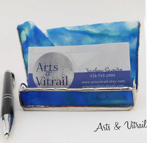 Stained Glass Business Cards, Blue-White-BLack, Metallic threads decorate the sides., Office Accessory,  Office Gift Employer, Arts Vitrail