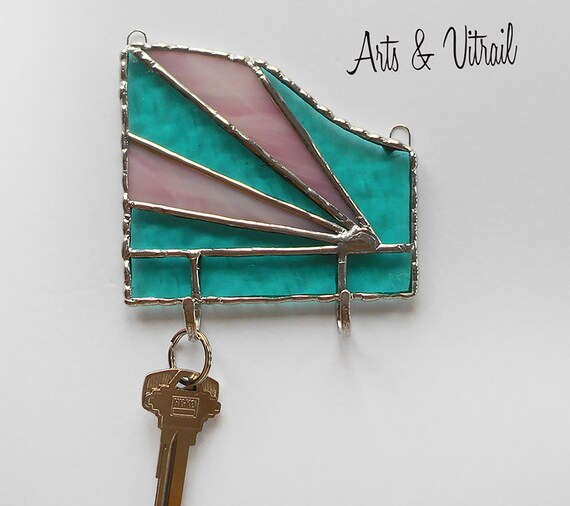 Key Holder for Wall, Aqua and Pink Stained Glass Wall Key Ring, Wall Decoration, Mail Organizer, Ideal Gift for Housewarming