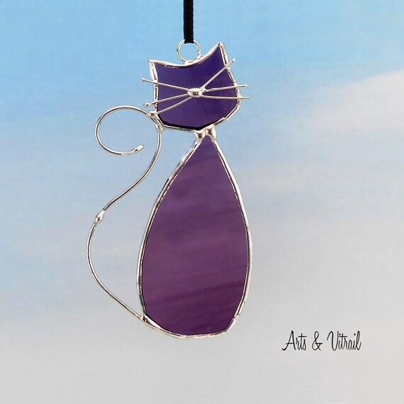 """Chat en vitrail de la famille """"Violet"""", son nom est MONSIEUR, décoration de fenêtre ou de miroir pour les amoureux des chats"""