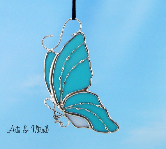 Stained Glass Butterfly Turquoise Suncatcher Carrying an Infinity Message-Body INFINITY Love, Hope, BestFriends or Live Love Laugh
