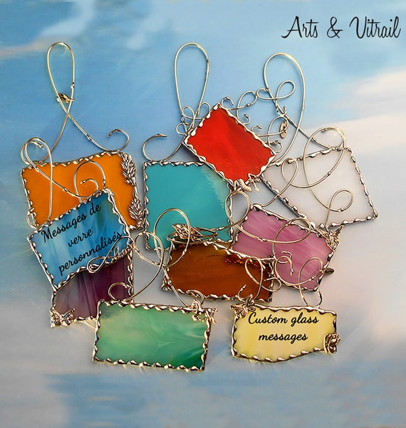 Glass Message Suncatcher Stained Glass, Message or Beautiful Text on Stained Glass Message in gift card box. A unique and personalized gift