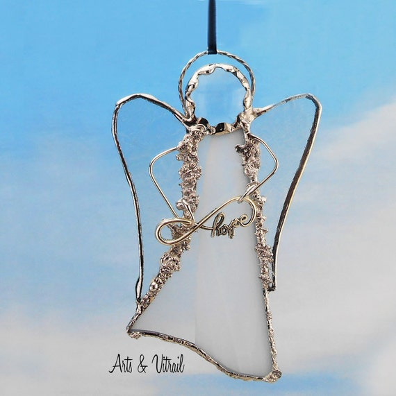 White Angel Stained Glass Suncatcher - Carrier Infinity Message to Love, Hope, Best Friends or Live Love Laugh