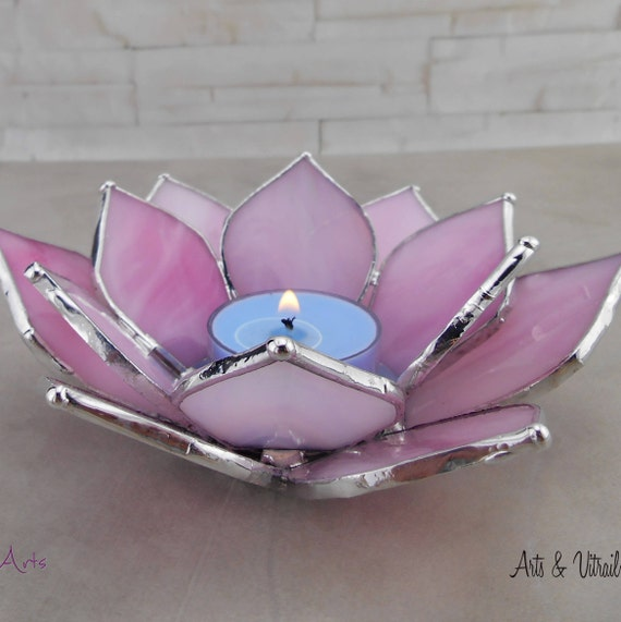Pink Lotus Flower, Candle Holder Stained Glass Flower, Candlestick,  Centerpiece, Zen Accessory, Zen Design, Unscented tealights