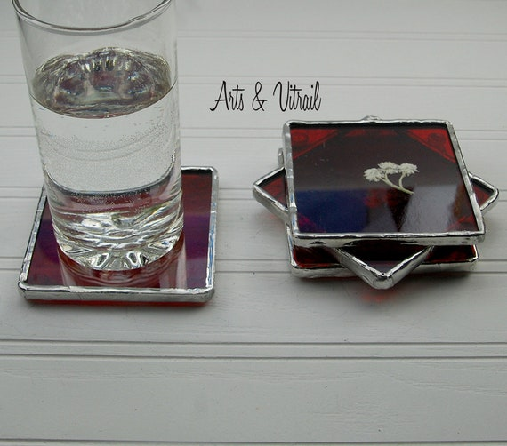Red Stained Glass Coasters, Set of 4, Dried White Flower Between an Red Glass and a Clear Glass, Lead-Free Solder