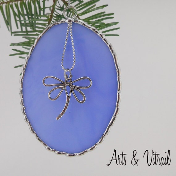 Stained Glass Christmas Ornament, blue oval, Dragonfly Pendant, decorative solder