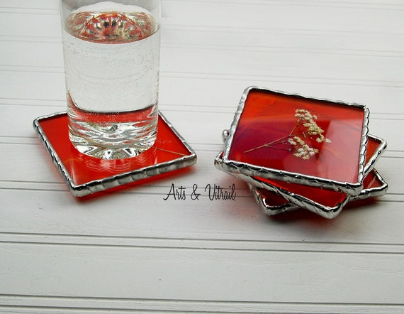 Orange Stained Glass Coasters, Set of 4, Dried White Flower Between an Orange Glass and a Clear Glass, Lead-Free Solder