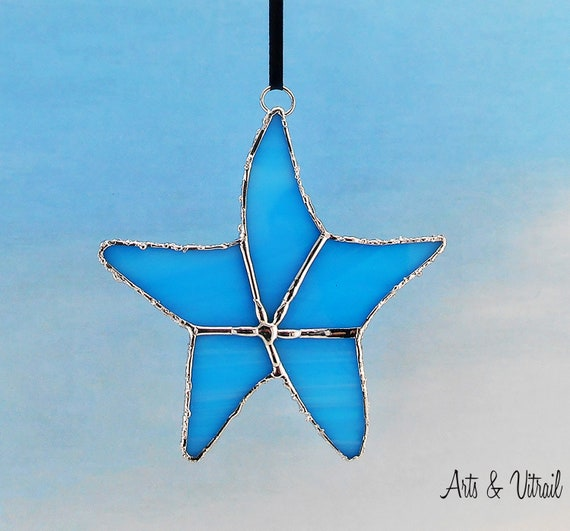 Blue Starfish Stained Glass Suncatcher or  Gold-Red Starfish, Glass Starfish, Sea Decoration, Maritime Decoration