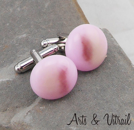Cuff Links Glass Pink, stainless, Accessory Shirt for Men and Women, Glass Cabochon