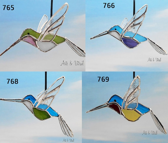 "Bird Hummingbird 3D Stained glass - Stained Glass Hummingbird,  About 6"" (15cm) long"