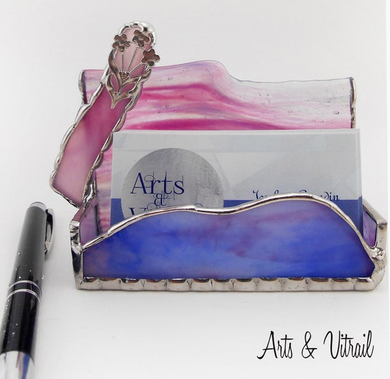 Stained Glass Business Cards, Pink, Blue, Purple and White, Metal Flower, Advertsing Stand, Office Gift Employer, Arts Vitrail