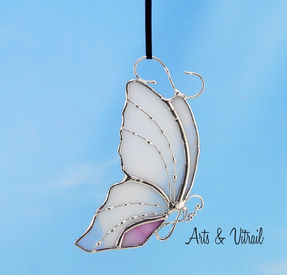 Stained Glass Butterfly White Suncatcher Carrying an Infinity Message-Body INFINITY Love, Hope, BestFriends or Live Love Laugh