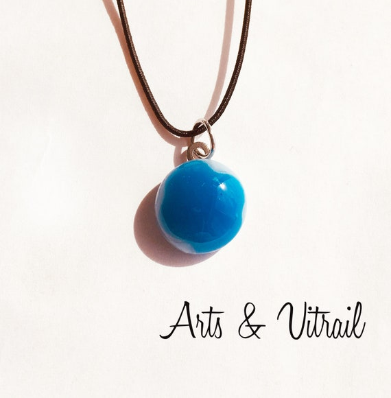 Blue Necklace Shaded with Pale Blue and White, Glass Pendant on an 18-inch black cord