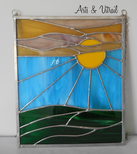 Sunset Stained Glass, Pannel Suncatcher,  Clear Teinted Color Glass, Amber, Yellow and Green, solid chain to hang - Arts & Vitrail