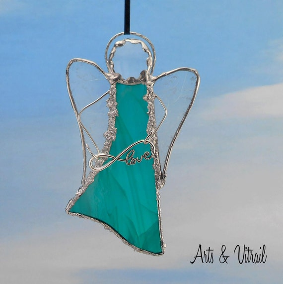 Green Angel Stained Glass Suncatcher - Carrier Infinity Message to Love, Hope, Best Friends or Live Love Laugh