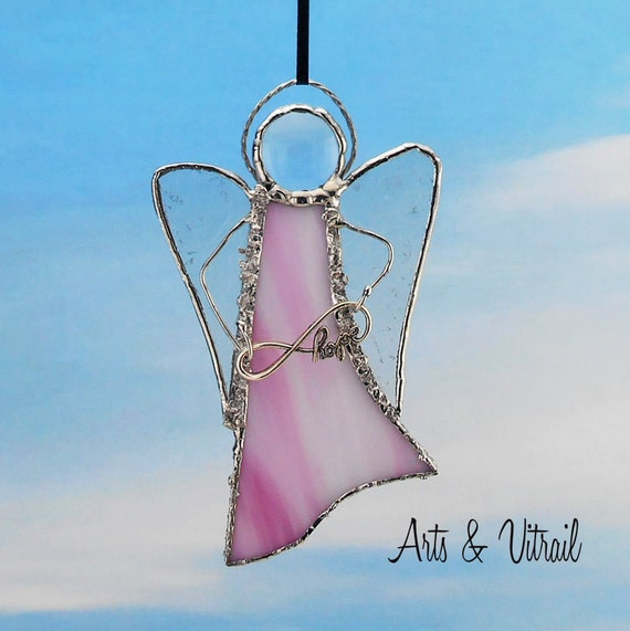 """Pink Angel Stained Glass Suncatcher - Carrier INFINITY LOVE or LOVE - 5 """"x 3"""" (12 x 7 cm),  with decorative solder"""