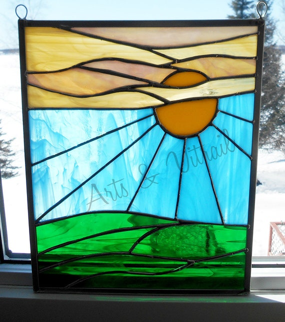 "Sunset suncatcher stained glass, 10"" X 12"" (25 X 30 cm) with clear glass, yellow and green amber, solid chain to hang - Arts & Vitrail"