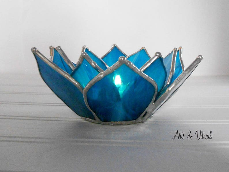 Blue Lotus Flower Candle Holder Stained Glass Flower image 0