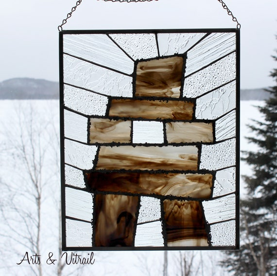 "Inukshuk Stained Glass 12"" x 15"" (30 x 36 cm), Zinc Framing, Decorative Welding, Suncatcher Stained Glass,  Solid Chain for Hanging Purposes"