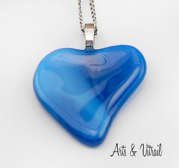 Heart Necklace in Blue Glass, Valentine's Heart,  Stainless Steel Chain