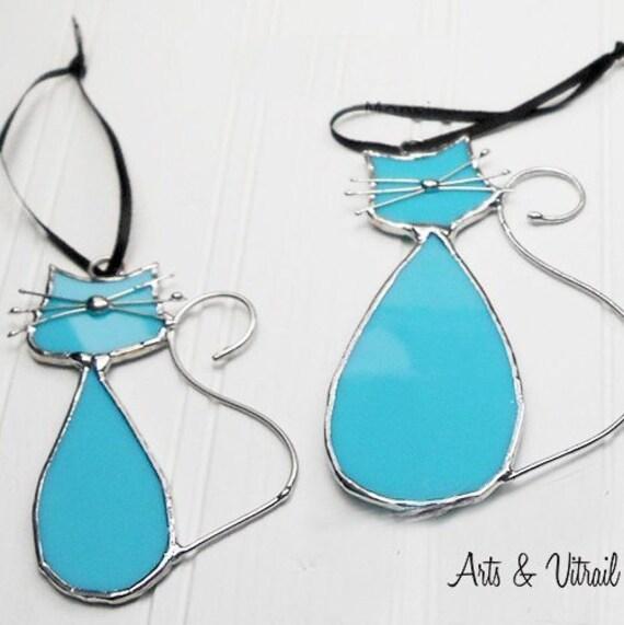 """Chats en vitrail de la famille """"Turquoise"""", ce couple d'amoureux est MADAME et MONSIEUR, Décoration de fenêtre ou de miroir"""
