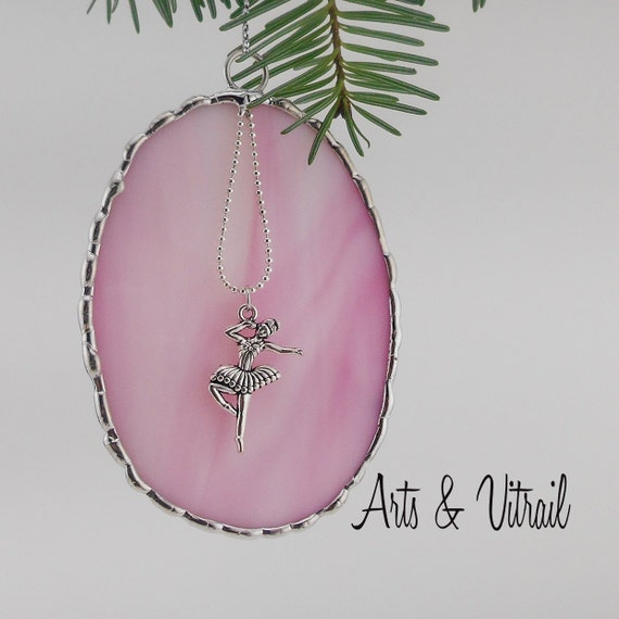 Stained Glass Christmas Ornament, Pink Oval, silver ballet dancer,  decorative solder
