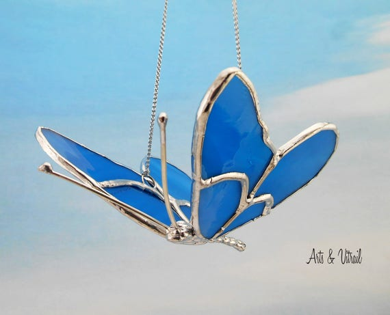Blue Butterfly 3D Stained glass - Butterfly in Flight, Wings are Blue, Handmade Lead Body