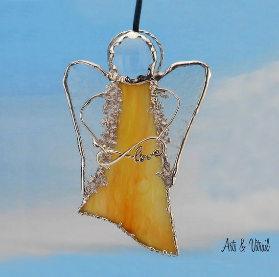 Yellow-Red Angel Stained Glass Suncatcher - Carrier Infinity Message to Love, Hope, Best Friends or Live Love Laugh