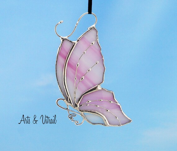 Stained Glass Butterfly Suncatcher Carrying an Infinity Message-Body INFINITY Love, Hope, BestFriends or Live Love Laugh