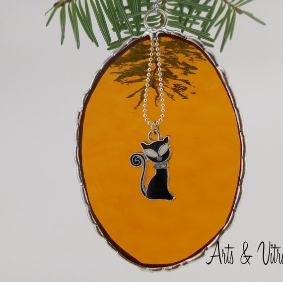 Stained Glass Christmas Ornament, gold oval, cat pendant, decorative solder
